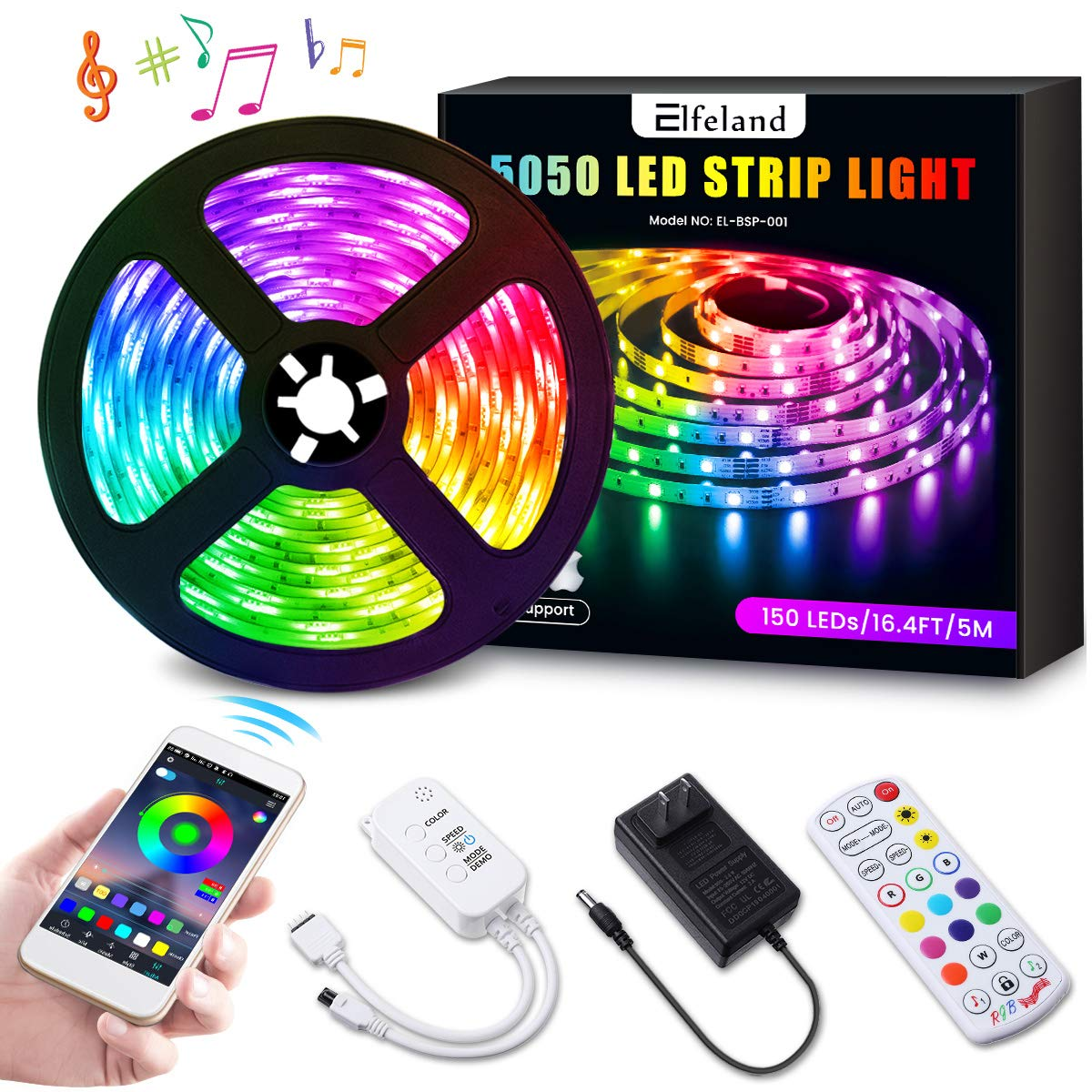 Elfeland LED Strip Lights 16.4ft LED Light Strip SMD5050 RGB Tape Lights Color Changing Rope Lights Work with App Sync with Music Flexible Strip Lights Kit for TV, Bedroom,Party, Home Decoration