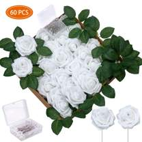 Greentime 60Pcs Artificial Flowers with Diamond Pearl Pins Real Looking Fake Foam Roses Bulk w/Stem for DIY Bridal Bouquets Wedding Baby Shower Cake Flower Party Home Decor (White)