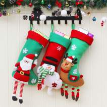 """Aiduy 3 Pack 18"""" Christmas Stockings Set with 3D Plush Santa Snowman Reindeer Christmas Decorations Stockings for Xmas Holiday Party Decor"""