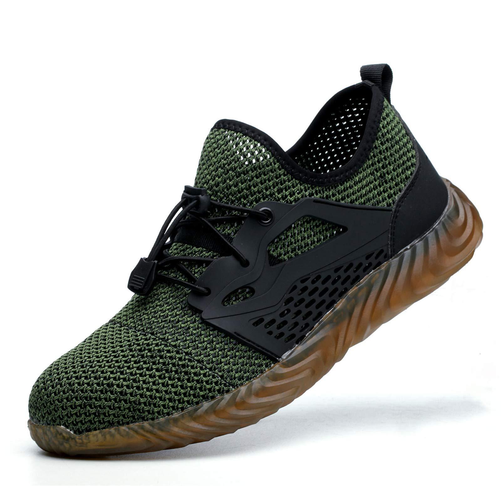 JACKSHIBO Steel Toe Shoes Men, Indestructible Work Safety Shoes Lightweight, Slip Resistant Breathable, Industrial ConstructionShoes
