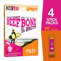 Lonolife Thai Curry Beef Bone Broth Powder with 10g Protein, Stick Packs, 4 Count