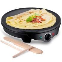 JYDMIX Crepe Maker Machine | Nonstick 12'' 1300W Electric Pancake Maker - Batter Spreader, Wooden Spatula for Roti, Blintzes, Eggs, Dosa, Lefse - Temperature Control, Portable, Easy Clean