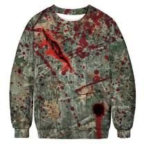UNIFACO Unisex Halloween Sweater Novelty Ugly Print Costume Crewneck Long Sleeve Sweatshirt