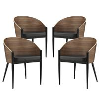 Modway Cooper Mid-Century Four Dining Chairs in Faux Leather Upholstered Seat and Black Metal Legs in Walnut