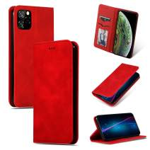 iPhone 11 Pro Max Case,Gendeda Premium Retro Faux Leather and Strong Magnetic Closure [Durable & Card Holder Slots] [Kickstand & Flip] for iPhone 11 Pro Max Wallet Case 6.5 inch (Red)
