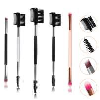 Gomigle 5 PCS Premium Eyebrow Brush and Comb Set, Dual Eyeshadow Brush Set, Eyeliner brush, Eyelash Brush Comb, Spoolie Brushes, Angled Brow Brush, Duo Brow Lash Brush Comb Kit for Powder Gel Wax