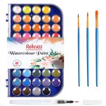 Watercolor Paint Set 48 Solid Watercolors Paints 1 Water Brush Pen 3 Water Color Brush, Palette Paint Set for Adults Kids Boys Girls,Art Supplies for Beginners Professional Artist Toys Gifts9(Blue)