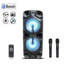 Starqueen Trolley Bluetooth PA Speaker Dual 12Inch Woofer with 2 Wireless UHF Microphone, Battery Powered Rechargeable Karaoke DJ Speaker with LED Light, Active Digital Sound Box, FM/MP3/USB/SD/TF/AUX
