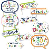 Big Dot of Happiness Funny 30th Birthday - Cheerful Happy Birthday - Colorful Thirtieth Birthday Party Photo Booth Props Kit - 10 Piece