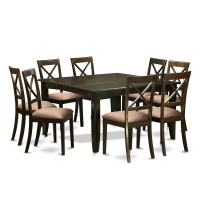 9 Pc Dining room set for 8-Kitchen Table with Leaf and 8 Microfiber Dinette Chairs.