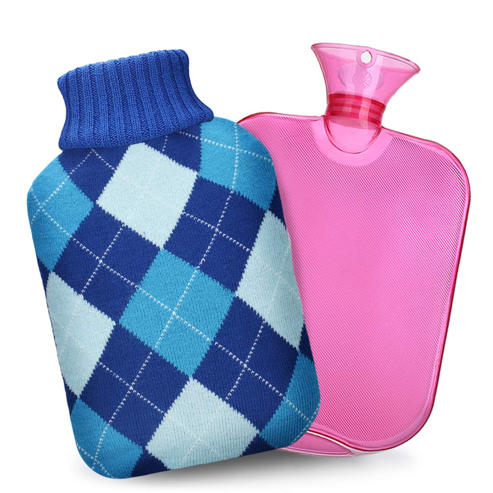 Hot Water Bottle with Cover, QIBOX Classic Rubber Hot Water Bag PVC Hot Water Bottle with Knit Cover, Great for Pain Relief, Hot & Cold Therapy, Gift for Girls Babies Christmas