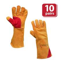 SAFE HANDLER Prime Welding Gloves with Kevlar Thread Protection   Reinforced Thumb and Palm, Heat Resistant for oven, MIG welding, TIG welder, Grill, Fireplace, BBQ, Animal Handling, 16 inch, 10 Pairs