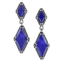 Carolyn Pollack Sterling Silver Blue Agate Gemstone Kite-Set Earrings
