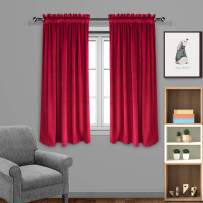 Eamior Window Treatment Home Decorations Solid Rod Pocket Blackout Living Room Velvet Curtains/Drapes for Christmas & Thanksgiving Gift/Decor (2 Panels, W52 x L63 -Inch, Ruby Red)