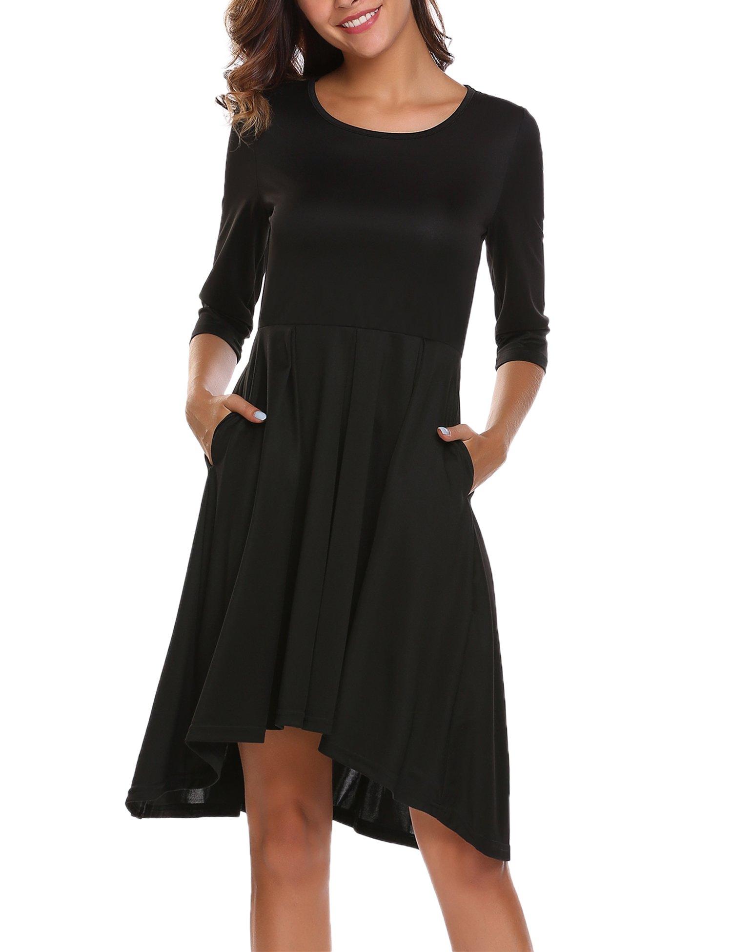 ACEVOG Women's 3/4 Sleeve Irregular Hem Pockets Pleated Casual Swing Dress (Black,S)
