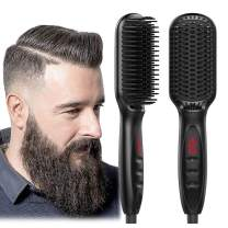 Beard Straightener for Men Heated Hair Straightening Comb Ionic Multifunctional Hair Styler Electric LED Hot Brush with Anti-Scald Feature Portable Beard Brush Straightener for Home & Travel