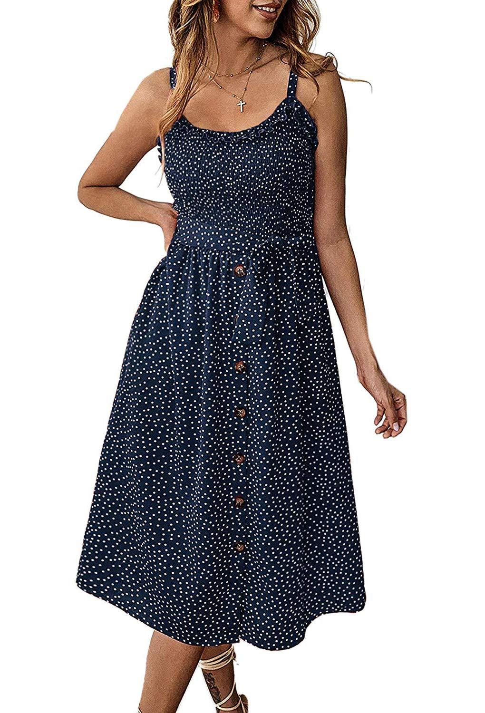 Women's Dresses Summer Floral Spaghetti Strap Swing A line Boho Midi Dress with Belt Pockets