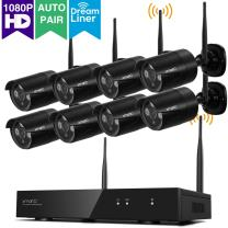 [Audio & Video] xmartO 8CH Full HD 1080p Wireless Security Camera System with 8X 1080p HD Outdoor WiFi IP Cameras (Dream Liner WiFi Relay, Built-in Router, Auto-Pair, No HDD) WPK2088