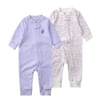 Teach Leanbh Baby 2-Pack 100% Cotton Romper Jumpsuits Two Way Zipper Long Sleeve Footless Sleep and Play (0-2T)