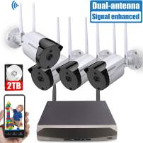 Outdoor Security Camera System Wireless, 4PCs 2.0MP Wireless Home/Outdoor/Business Surveillance Systems, IP WiFi Security Camera System with Night Vision, 2TB Hard Drive, APP Remote View