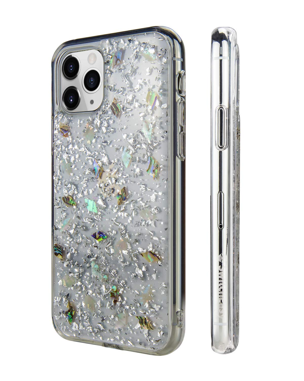 """2019 iPhone 11 Pro Max Clear Case - FLASH Floral iPhone Hard Case Back Cover for Women, Transparent Clear Flexible Rubber Pressed Real Genuine Dried Flowers and Seashell (Conch, 2019 iPhone 6.5"""")"""