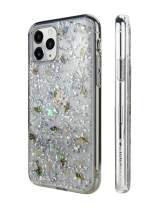 "2019 iPhone 11 Pro Max Clear Case - FLASH Floral iPhone Hard Case Back Cover for Women, Transparent Clear Flexible Rubber Pressed Real Genuine Dried Flowers and Seashell (Conch, 2019 iPhone 6.5"")"
