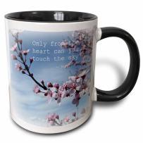 "3dRose 30863_4""Inspirational Zen Cherry Blossom Rumi Floral Wisdom Quotes Two Tone Black Mug, 11 oz, Multicolor"
