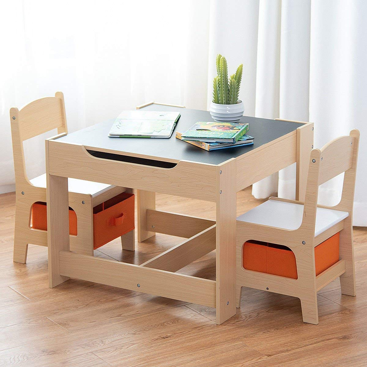 Picture of: Costzon Kids Table And 2 Chairs Set 3 In 1 Wooden Table Furniture For Toddlers Drawing Reading Train Art Playroom Activity Table Desk Sets Convertible Set With Storage Space