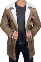 Decrum Mens Hardy Winter Shearling Long Distressed Brown Sheepskin Leather Coat