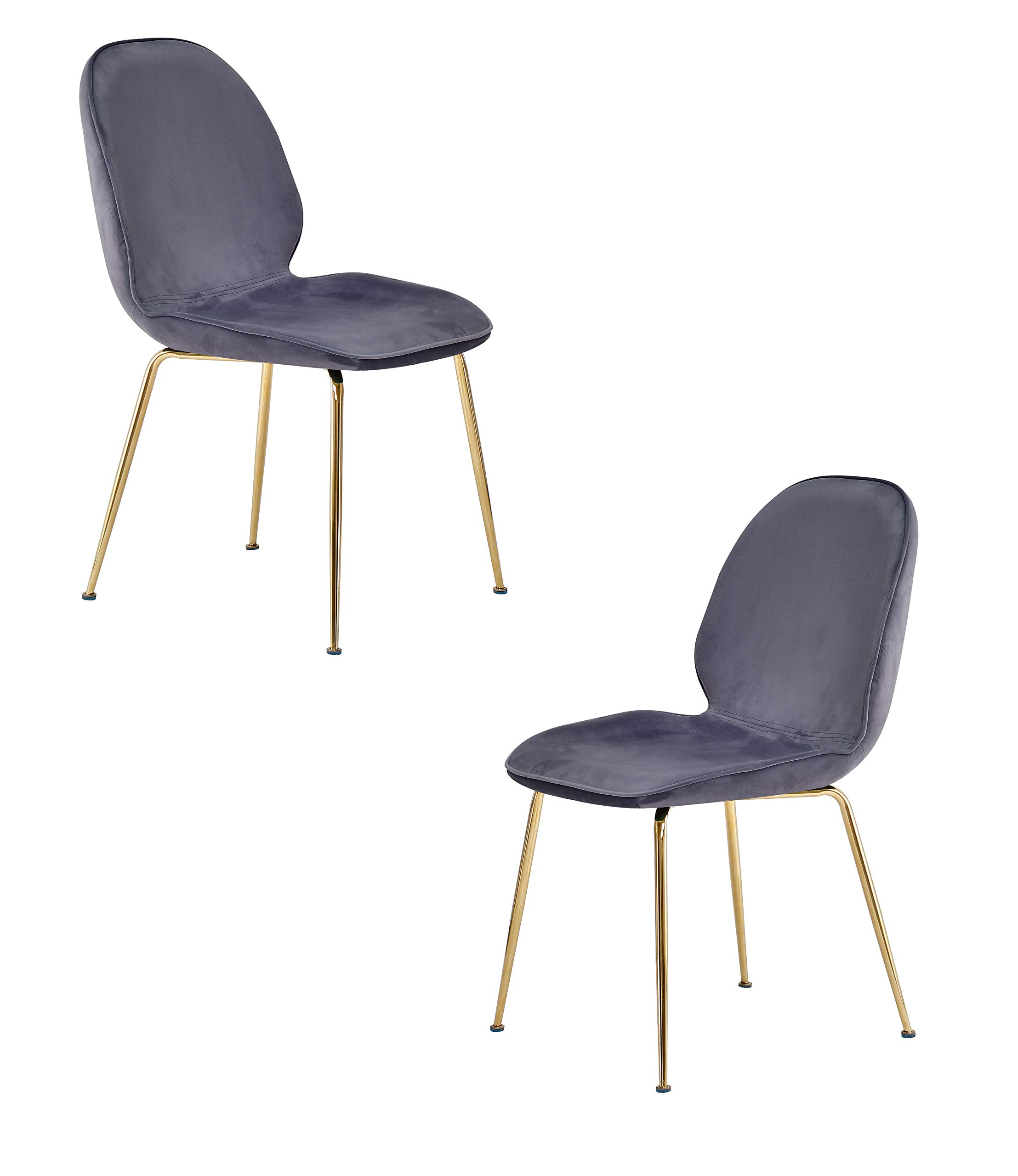 Best Master Furniture Tara Velvet Dining Chairs with Gold Plated Legs, Set of 2, Gray