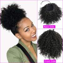 Drawstring Ponytails for Black Women 14 inch Kinky Straight Ponytail Clip in Wet and Wavy Ponytail