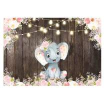Funnytree 7x5ft Rustic Wood Floral Elephant Party Backdrop Pink Flower Retro Wooden Floor Girl Baby Shower Birthday Photography Background Vintage Board Cake Table Decoration Photobooth Studio Props