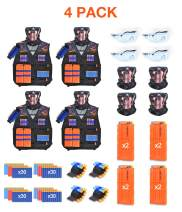 BROADREAM Kids Tactical Vest Kit for Nerf Gun N-Strike Elite Series Nerf Guns Tactical Vest for Boys with Reload Bullets, Reload Clips, Tube Mask, Wrist Band and Protective Glasses, 4 Pack