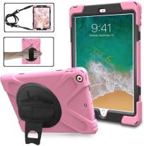 BRAECN iPad 6th Generation Case,iPad 9.7 Case 2017/2018,[Heavty Duty] Drop Proof Shockproof Rugged case with 360 Degree Rotating Kickstand/Shoulder Strap/Hand Strap for iPad 5th Generation case-Pink