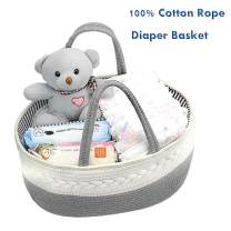 PLIFE Cotton Baby Diaper Caddy Organizer Basket Pure Cotton Rope Storage Basket with Handle and Divider for Diaper, Toy, Baby Shower