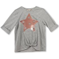 Speechless Girls' Big Twist-Front T-Shirt with Flippy Sequins