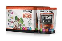 INVIGOR8 Superfood Shake Gluten-Free and Non GMO Meal Replacement Grass-Fed Whey Protein Shake with Probiotics and Omega 3 (645g) (Pouches (12-pk) Chocolate Brownie) (Chocolate)