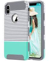 ULAK iPhone Xs Max Case, Stylish Design Slim Protective Case Shockproof Hybrid Hard PC Back Cover Shock Absorbent TPU Bumper Phone Case for iPhone Xs Max 2018, Grey+Minimal Mint Stripes