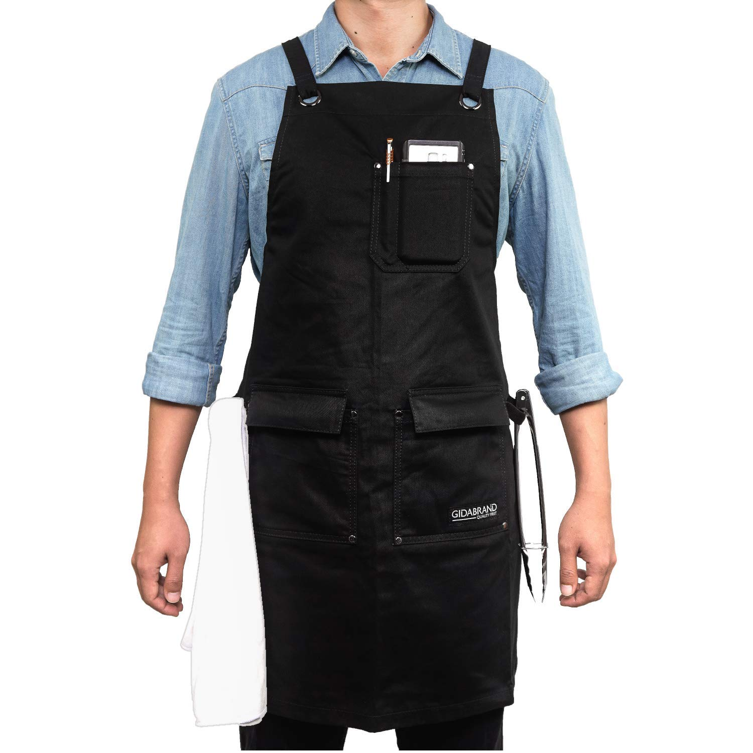Professional Chef Kitchen Apron with Double Towel Loop – 10 oz Cotton for Cooking, BBQ and Grill – Men Women Design with 3 Pockets, Quick Release Buckle and Adjustable Strap M to XXL (Black)