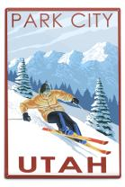 Lantern Press Park City, Utah, Downhill Skier 50421 (6x9 Aluminum Wall Sign, Wall Decor Ready to Hang)