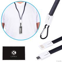 CamKix USB Lanyard Compatible with Ledger Nano S - Transport, Power and Data Transfer Cable - Carabiner to Protect Against Loss - Also for Your Phone, Handheld Game Console, Compact Camera
