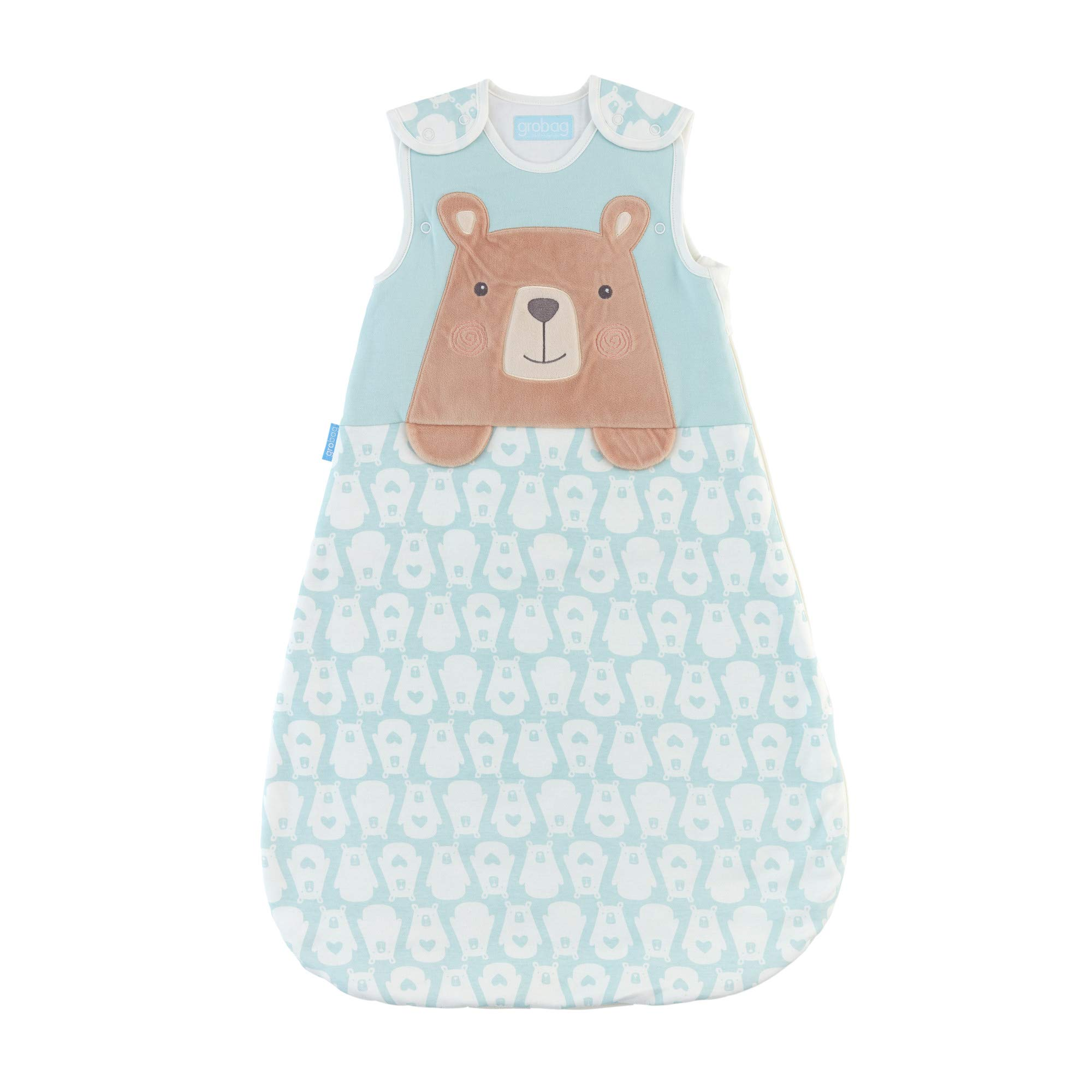Tommee Tippee Grobag Newborn Baby Cotton Sleeping Bag, Sleeping Sack - Warm 2.5 Tog for 60-68 Degree F - Bennie The Bear - Small Size, 0-6 Months, Blue