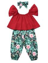 3Pcs Toddler Girl Clothes Kid Trumpet Sleeve Tops + Floral Pant with Headband Outfits 1-6 Year Old