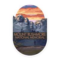 Lantern Press Mount Rushmore National Memorial, South Dakota - Sunset View - Contour 98947 (Vinyl Die-Cut Sticker, Indoor/Outdoor, Large)