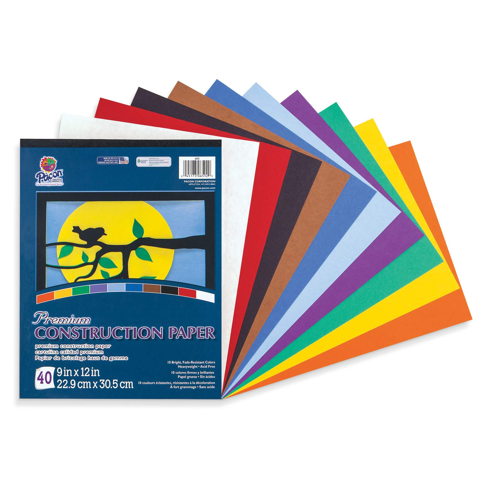 """Tru-Ray Heavyweight Construction Paper Pad, 10 Assorted Colors, 9"""" x 12"""", 40 Sheets"""