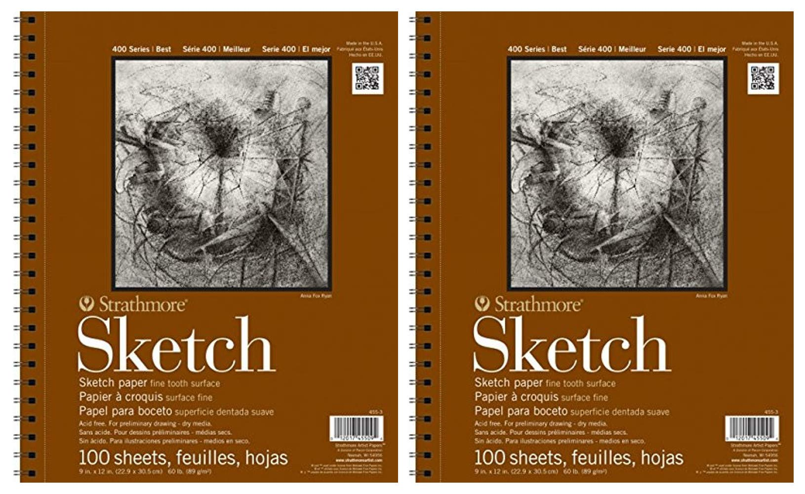 """2-Pack - Strathmore 400 Series Sketch Pad, 11""""x14"""" Wire Bound, 100 Sheets Each"""
