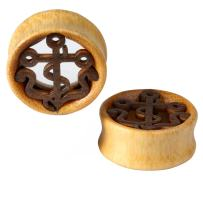 BodyJ4You Organic Solid Wood Nautical Anchor Tunnels Saddle Plugs 12mm-30mm (2 Pieces)