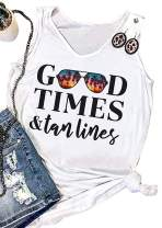 Huovud Good Times & Tan Lines Tank Tops for Women Sunglasses Coconut Trees Graphic T-Shirt Travel Vacation Sleeveless Vest