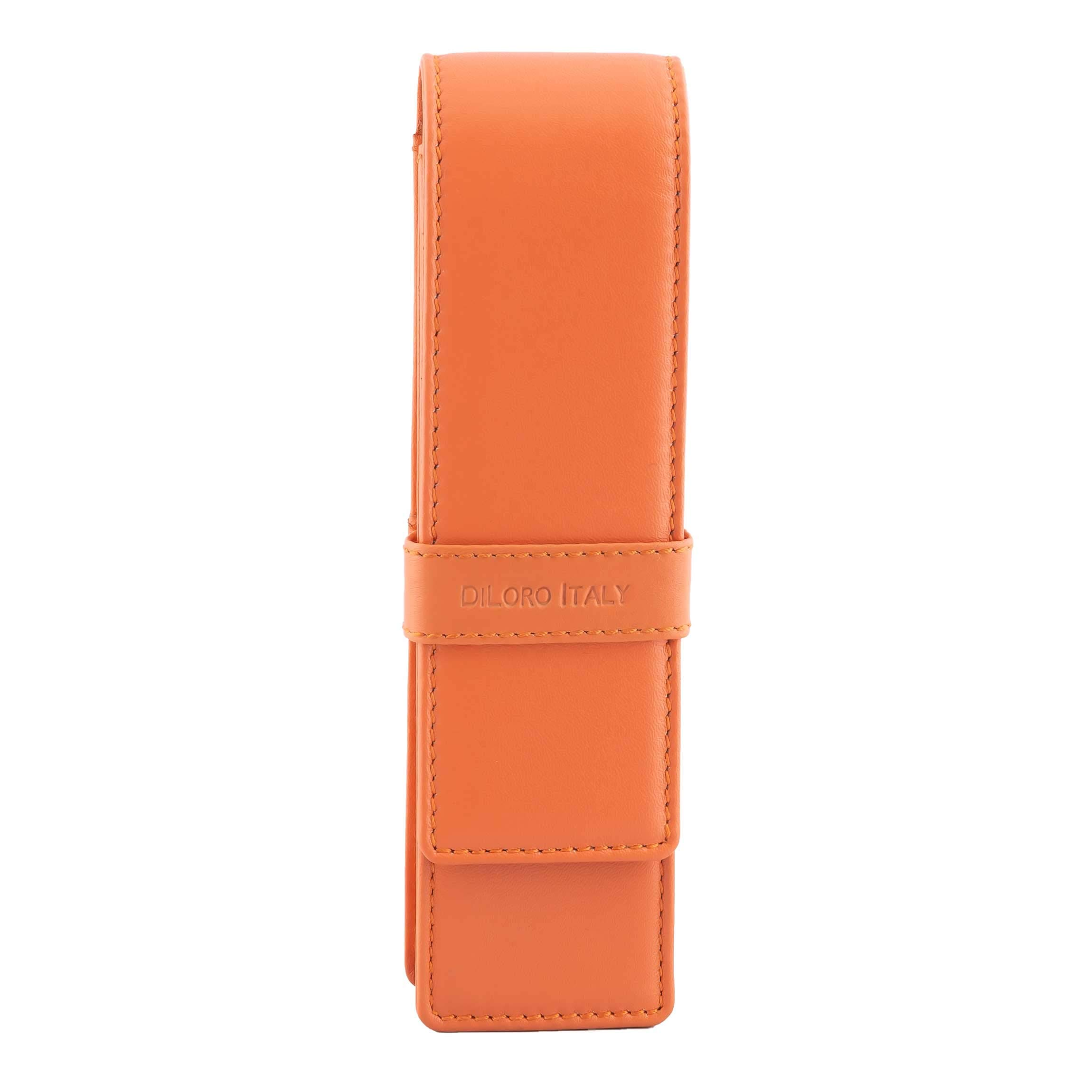 DiLoro Leather Pen Case Pouch Holder for Two Fountain Pens Ballpoint Rollerball Pen or Pencils (Orange)