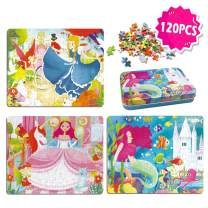 Wooden Puzzles for Kids Ages 3-5 in Travel Iron Cases 120 Pieces Jigsaw Puzzles for Girls Ages 4-8 and Children Learning Educational Puzzles (Princess, Mermaid & Cinderella)